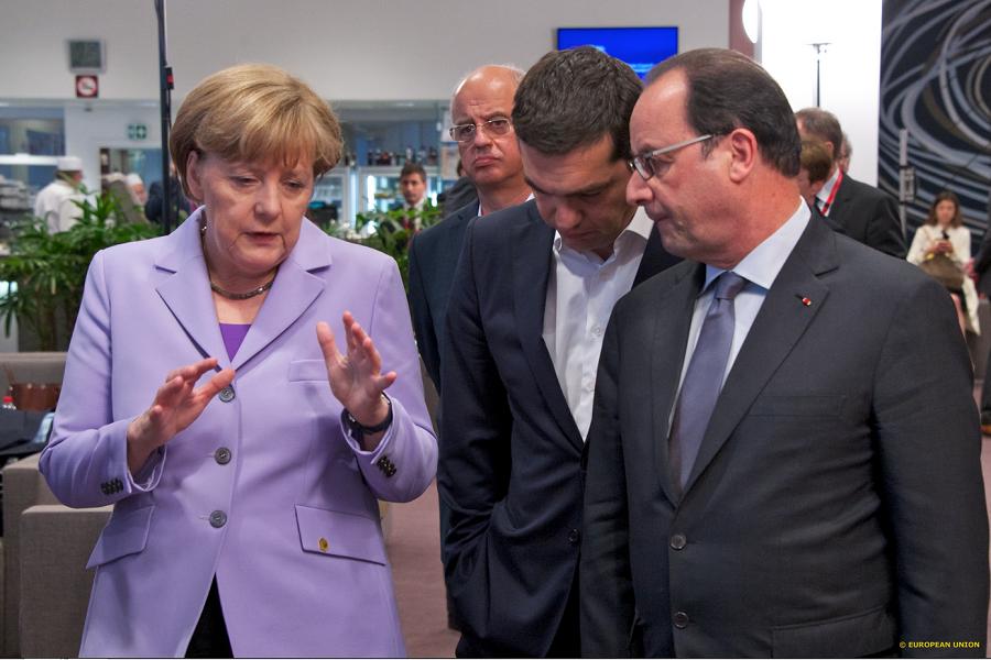Алексис Ципрас, Франсоа Оланд и Ангела Меркел
